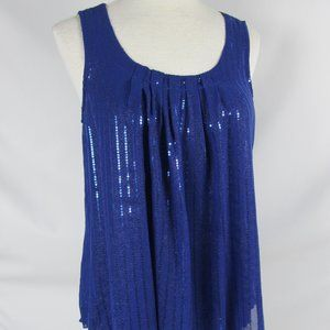 Cupio Blue Sequin Sleeveless Tie Neck Top Med NWT
